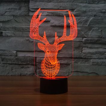 Colorful USB Cute 3D Christmas Deer Bedroom Office Home Decoration Desk Table Lamp Child Night Lights Christmas Gift TD138 147