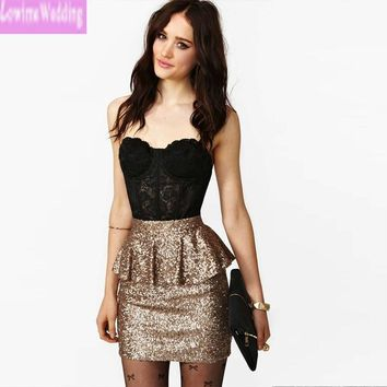 Shiny Sequins Cocktail Dresses with Lace Top See Through Peplum Ruched Waist Short Party Dresses Robe Cocktail