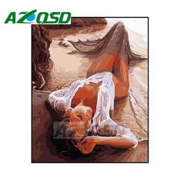 AZQSD Painting By Numbers Beach Mermaid DIY Frameless 40x50cm Digital Oil Painting By numbers On Canvas Home Decor szyh028