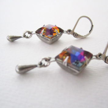 Vitrail Earrings - Shiny Rainbow Jewelry - Square Jewels - Leverback