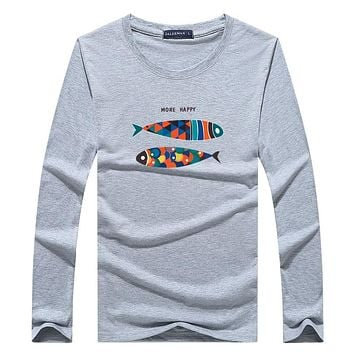 Spring Autumn cotton man t-shirt Fish long sleeved t shirt o-neck casual print