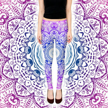 Psychedelic Purple Leggings - Intricate Mandala Visionary Art Pants - Festival Rave Wear - Digital Print Ombre Sacred Geometry Clothing