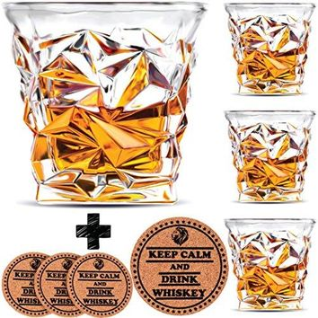 Diamond Whiskey Glasses  Set of 4  by Vaci + 4 Drink Coasters Ultra Clarity Crystal Scotch Glass Malt or Bourbon Glassware Gift Set