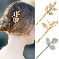 Hair Accessories Gold Leaf Hair Clip Accessory [10985360007]