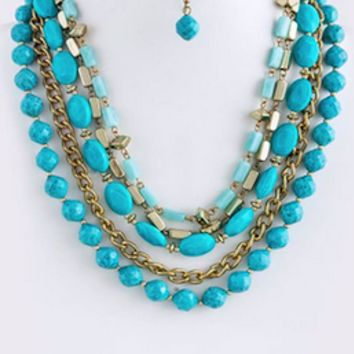 Turquoise Layered Statement Necklace