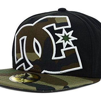 DC Shoes Coverage New Era Fitted 59Fifty Black Camo Hat Cap Size 7 1/4