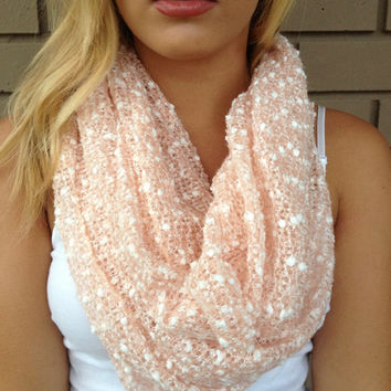 Pink & White Share the Warmth Infinity Scarf