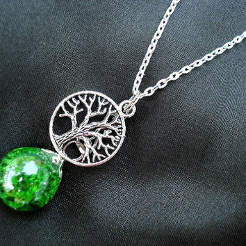 Tree of Life Green Glass Fried Marble Chain Necklace
