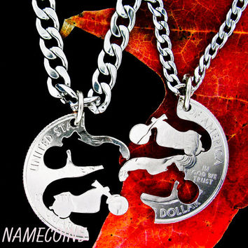 Harley Motorcycle Inspired Jewelry, Couples Necklace, Interlocking Relationship quarter, hand cut coin