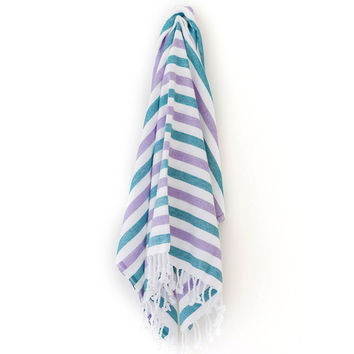 Turkish-T - Summer Stripe Beach Towel | Lavender/Turquoise