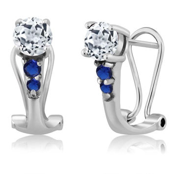 1.20 Ct Round White Topaz Blue Simulated Sapphire 925 Sterling Silver Earrings