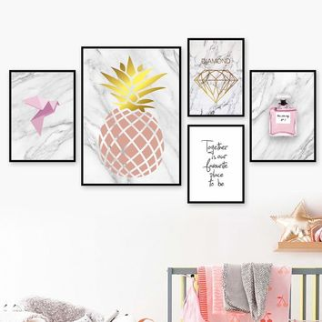 Marbling Pineapple Perfume Diamond Quotes Wall Art Canvas Painting Nordic Posters And Prints Wall Pictures For Living Room Decor