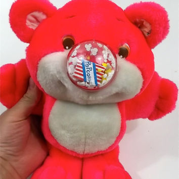 Neon Pink // NOSY BEAR 1980s Plush Toy // Very Clean Great condition // vintage Doll Animal