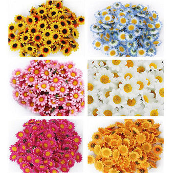 100Pcs Artificial Gerbera Daisy Silk Flowers Heads For DIY Wedding Party