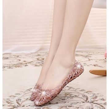 Shallow Leisure Women Sandals Summer Crystal Cut Out Flats Flat Heel Shoes Female