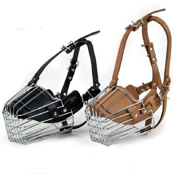 Black / Brown Strong Metal Wire Basket Dog Muzzle For Large Dog Amstaff Pitbull Bull Terrier Anti-Bite Bark Chew Muzzles