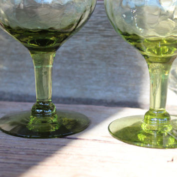 set of vintage glassware, 5 green Skanda by Imperial Glass wine goblets, green wine goblets, green bar cart glassware, vintage wine glasses,