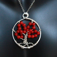 Tree of life Pendant with Chain, Sterling silver necklace, family tree, jewelry, bamboo coral