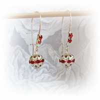 Red Crystal Earrings - Christmas Earrings - Silver Filigree Earrings - Dangle Earrings - Christmas Valentines Holiday Gifts For Her