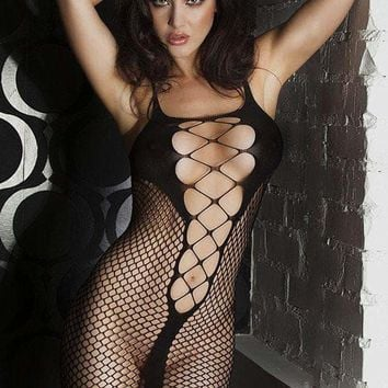 Black Fishnet See-through Chemise Dress