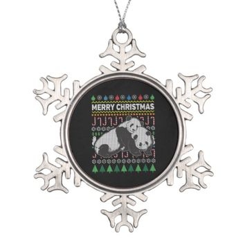 Pandas Ugly Christmas Sweater Wildlife Series Snowflake Pewter Christmas Ornament