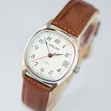 Vintage men's wristwatch Poljot, tomboy wristwatch white face, classy unisex watch, men's wristwatch gift, premium leather strap new