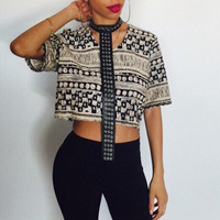 Vintage tribal custom crop top with faux leather harness REBEL collection
