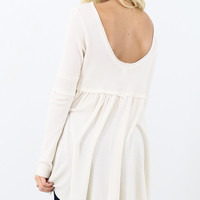 California Dream Cream Waffle Knit Tunic Top