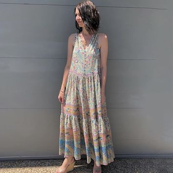 Oasis Maxi Dress Gypsy Print Maxi Dresses V-Neck Sleeveless Vest Beach Long Dress Button-up Front Rock-chic Women Dresses