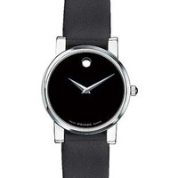 Movado Classic Museum Watch Ladies - Black Dial - Leather Strap