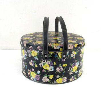 Vintage Floral Black Tin With Handles / Shabby Chic Container Metal Bin