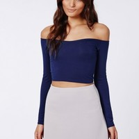 Missguided - Carrisa Long Sleeve Jersey Bardot Crop Top Navy