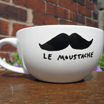 Mr Teacup's hand drawn moustache teacup by MrTeacup on Etsy