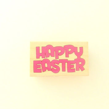 Happy Easter Stamp, Wood Block Rubber Stamp, Card Making Stamp, Scrapbook Stamp