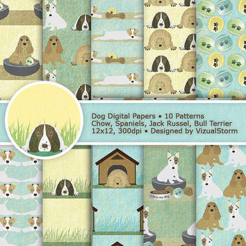 Cute Dog Digital Paper, neutral dogs scrapbook papers, 10 printable earth tone pet patterns, yellow, green, blue spaniels, chow, terriers