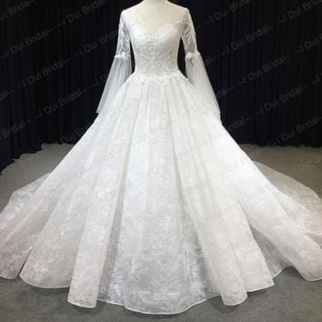 Sheer Tulle Long Sleeve Wedding Dress Fairy Cathedral Royal Train Unique Lace Appliqued New Bridal Gown