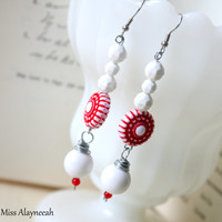 Red and White Earrings, Dangle Earrings, Vintage Acrylic Beads, Chunky Beads, Beaded Earrings, Teen Jewelry,Statement Earrings, Friend Gift