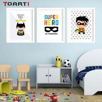 Cartoon Batman Prints And Poster Super Hero Quotes Wall Art Colorful Canvas Painting Boy Bedroom Nursery Home Deco Gift Unframed