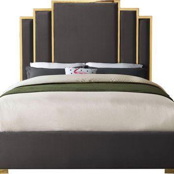 Hugo Grey Velvet King Bed
