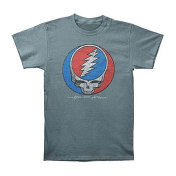 Grateful Dead Men's  Distress Your Face Over Dyed T-shirt Grey