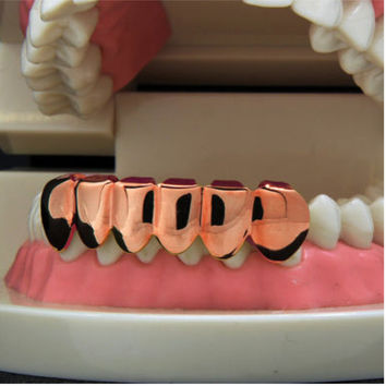 NEW 1PCS Hip Hop Teeth Grillz Cap Rose Gold Lower Bottom Bloodsucker Teeth Protector For Halloween Christmas Party