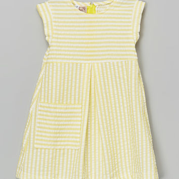 Anna Bouche Yellow & White Stripe Seersucker A-Line Dress - Toddler & Girls | zulily