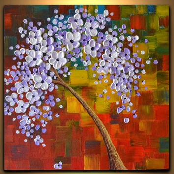 White Lavender fall tree painting, bright colorful landscape painting, 3 d wall art, kids wall decor by ZarasShop