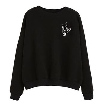 [15017] I Love You Sign Language Black Sweater