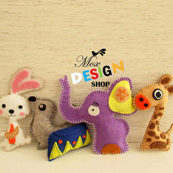 Stuffed Animal Hand Sewing PATTERNS // Plush Felt Elephant Rabbit Seal Firaffe // Easy//  Est-Eng lang.