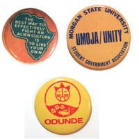 Vintage Black African American Activist Button Pins (Set of 3) | Umoja/Unity Morgan State University, Ondunde, Africa