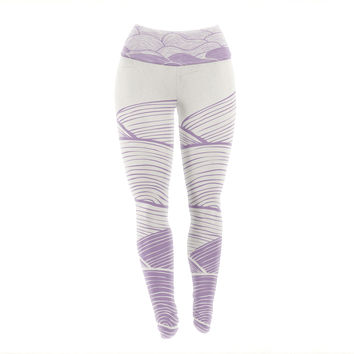 "Pom Graphic Design ""The Lavender Seas"" Purple Waves Yoga Leggings"