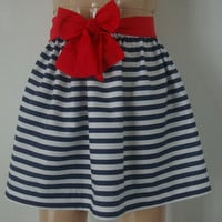 Custom Navy White Stripe Skirt with Sash by bamboogees