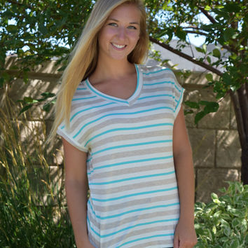 Merriam V Neck Striped Tee - Mint