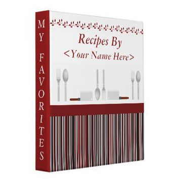 Kitchen Stripes Red Personalized Recipe Cook Book 3 Ring Binders from Zazzle.com